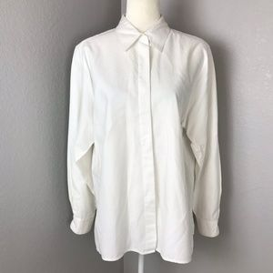 Foxcroft White Button Down Collared Blouse